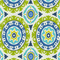 Solar Flare Lime Indigo Blue Suzani Cotton Drapery Print by Waverly Swatch