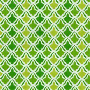 On Display Kiwi Green Geometric Cotton Print Drapery Fabric by Waverly Swatch
