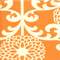 Fun Floret Citrus Orange Floral Drapery Fabric by Waverly