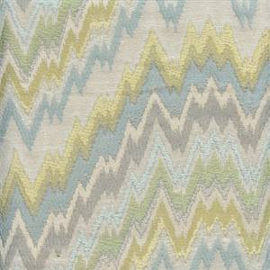 Light My Fire Sea Green Flame Stitch Upholstery Fabric by P Kaufmann