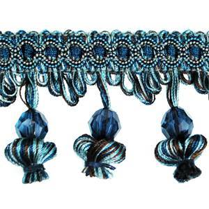 IR4292 DNM Denim Onion Tassel Bead Fringe 20 Yard Reel