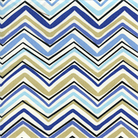 Forssa Terrace Cascade Blue Tan Chevron Outdoor Fabric by Swavelle Mill Creek Swatch