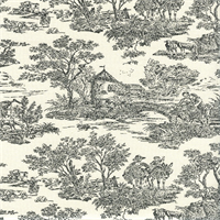 Nara Panorama Charcoal Grey Toile Drapery Fabric by Swavelle Mill Creek
