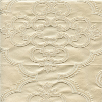 Lacoste Ivory Medallion Floral Faux Silk Drapery Fabric