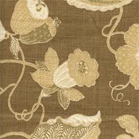 Cir/Sulawesi Chocoalte DB 004 Floral Drapery Fabric by P Kaufmann