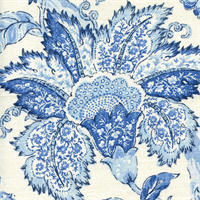 Tranquility Periwinkle Blue Floral Drapery Fabric by P Kaufmann