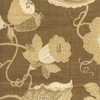 Cir/Sulawesi Chocoalte DB 004 Floral Drapery Fabric by P Kaufmann Swatch