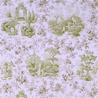 Kent Garden Grass Green Toile Drapery Fabric by P Kaufmann Swatch