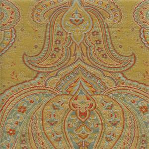 M9633 Saffron Gold Paisley Upholstery Fabric by Barrow Swatch