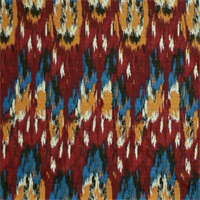 Ikat Craze Poppy Birch Cotton Drapery Fabric by Premier Prints