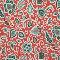 Faxon Calypso Orange Floral Outdoor Fabric by Premier Prints