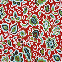 Faxon Rojo Red Floral Outdoor Fabric by Premier Prints