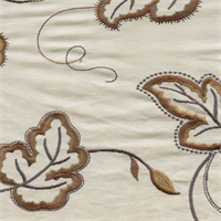 Verdure Maple Brown Embroidered Floral Drapery Fabric by P Kaufmann