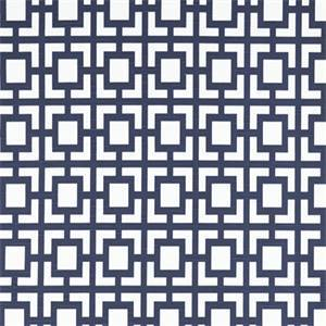 Gigi Premier Navy Blue Slub Geometric Outdoor Fabric by Premier Prints