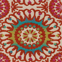 M9660 Fiesta Orange Suzani Chenille Upholstery Fabric by Barrow Merrimac Swatch