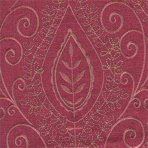 Society Hill Tulip Pink Embroidered Linen Drapery Fabric Swatch