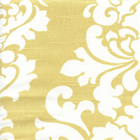Berlin Saffron Yellow Slub Floral Drapery Fabric by Premier Prints