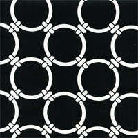 Linked Black Cotton Geometric Print by Premier Prints Swatch
