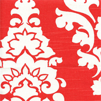 Berlin Lava Red Slub Floral Drapery Fabric by Premier Prints