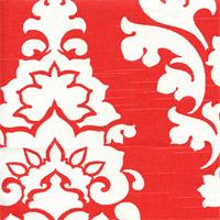 Berlin Lava Red Slub Floral Drapery Fabric by Premier Prints Swatch