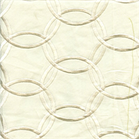Inner Circle Ivory Embroidered Contemporary Drapery Fabric