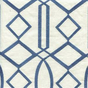 Egyptian Lattice Ocean Blue Embroidered Contemporary Drapery Fabric