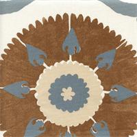 Kaftan Suzani Mineral Blue Grey Suzani Drapery Fabric