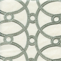 Courtship Stream Green Embroidered Contemporary Drapery Fabric Swatch