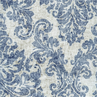 Lancaster Indigo Blue Floral Cotton Drapery Fabric Swatch