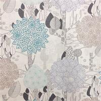 Mirror Image Capri Blue Floral Print Drapery Fabric