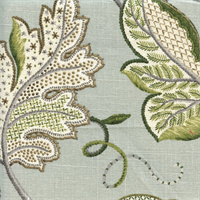 Leaf Sampler Cir Cloud Floral Print Drapery Fabric