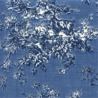 Summerfield Toile Delft Blue Print Drapery Fabric