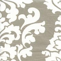 Berlin Ecru Grey Slub Floral Drapery Fabric by Premier Prints