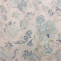 Jack O Bean Blue Tan Floral Linen Drapery Fabric