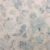 Jack O Bean Blue Tan Floral Linen Drapery Fabric