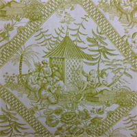 Turkish Toile Citron Green Drapery Fabric Swatch