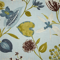 Ray of Sun Cloud Blue Floral Print Drapery Fabric Swatch