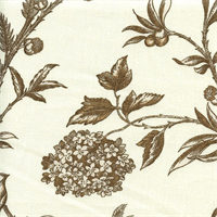 Solomons Seal Praline Brown Floral Print Drapery Fabric Swatch