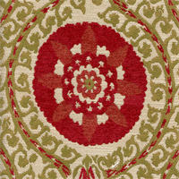 Uzbek Poppy Red Chenille Suzani Upholstery Fabric by Swavelle Mill Creek