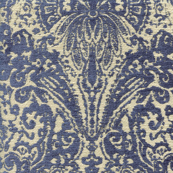 Gilsey blue chenille paisley upholstery fabric by swavelle for Cheap fabric by the yard