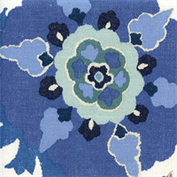 Liam Silsila Indian Sea Blue Suzani Drapery Fabric Swatch