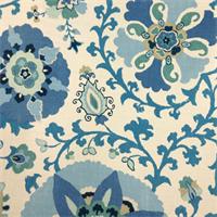 Liam Silsila Indian Sea Blue Suzani Drapery Fabric Swatch