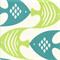 Ocean Current Seaspray Blue Green Fish Outdoor Fabric Swatch