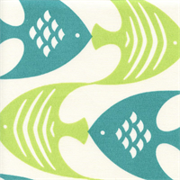 Ocean Current Seaspray Blue Green Fish Outdoor Fabric Swatch
