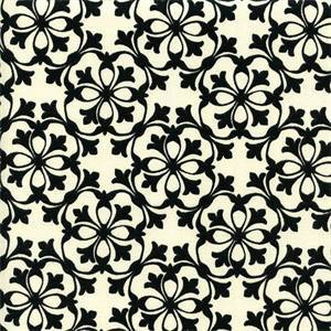 Courtyard Black Floral Print Drapery Fabric Swatch