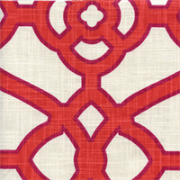 Pavilion Fretwork Papaya Orange Contemporary Print Drapery Fabric