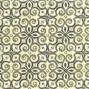 Interlocked Onyx Grey Yellow Contemporary Drapery Fabric