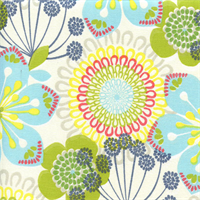 Summer Spin Lake Blue Floral Print Drapery Fabric Swatch