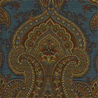 M9633 Peacock Blue Paisley Floral Upholstery Fabric by Barrow Merrimac Swatch