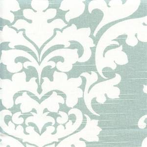 Berlin Snowy Blue Slub Floral Drapery Fabric by Premier Prints